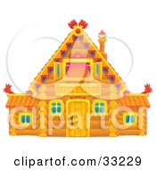Clipart Illustration Of A Log House With A Vaulted Roof And Purple Drapes In The Upstairs Window