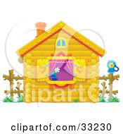 Clipart Illustration Of A Cute Log Cabin With Purple Drapes Heart Shutters And A Flower In The Window by Alex Bannykh