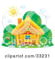Clipart Illustration Of A Sun Shining Down On A Log House With Butterflies Bushes And Flowers In The Yard And Flower Shutters