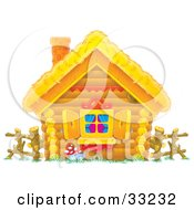 Clipart Illustration Of A Log Home With A Straw Roof Log Fence And Open Shutters