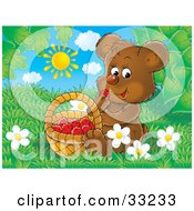 Clipart Illustration Of A Cute Brown Bear Cub Sitting In Grass And Snacking On Raspberries