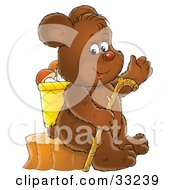 Clipart Illustration Of A Happy Bear Sitting On A Stump With A Basket Of Mushrooms And A Walking Stick by Alex Bannykh