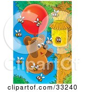 Bear Cub Hanging Onto A Balloon Floating Towards A Bee Hive To Collect Honey
