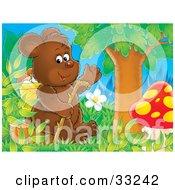 Friendly Bear Cub Sitting On A Stump With A Walking Stick Under A Tree With A Mushroom