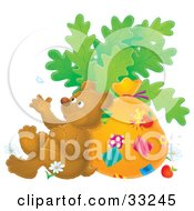Clipart Illustration Of A Relaxed Brown Bear Leaning Against A Sack And Tossing A Flower Petal