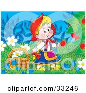 Clipart Illustration Of A Girl Little Red Riding Hood Picking Raspberries From The Bush by Alex Bannykh