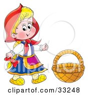 Clipart Illustration Of Little Red Riding Hood Wearing Her Cape Standing By A Basket by Alex Bannykh