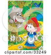 Wolf Emerging Behind A Tree Under A Bird Watching Little Red Riding Hood As She Walks Through The Forest