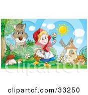 Clipart Illustration Of Little Red Riding Hood Carrying A Basket And Playing With A Flower Near Windmills As A Wolf Watches by Alex Bannykh