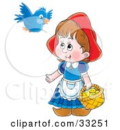 Little Red Riding Hood Carrying A Basket Of Cookies And Talking To A Blue Bird