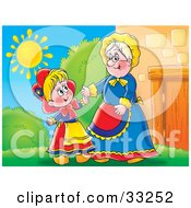 Clipart Illustration Of A Grandmother Greeting Her Grand Daughter Outside On A Sunny Day