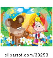 Clipart Illustration Of A Cute Bear Chatting With Little Red Riding Hood In A Flower Bed Near A House by Alex Bannykh