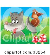 Clipart Illustration Of A Wolf Looking At A Brown Bird On Its Tail Perched In Bushes Near Mushrooms by Alex Bannykh