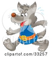 Clipart Illustration Of A Wolf In Clothes Sweating And Walking by Alex Bannykh