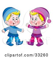 Clipart Illustration Of Two Little Blond Boys Dressed In Blue And Purple by Alex Bannykh