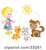 Clipart Illustration Of A Little Blond Girl With A Cat Mouse And Dog Under A Sun by Alex Bannykh