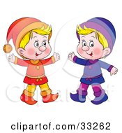 Clipart Illustration Of Two Little Blond Boys Dressed In Orange And Purple by Alex Bannykh
