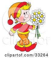 Clipart Illustration Of A Happy Blond Boy In Orange And Red Carrying A Bunch Of Daisy Flowers by Alex Bannykh
