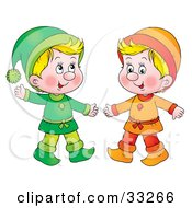 Clipart Illustration Of Two Little Blond Boys Dressed In Green And Orange