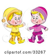 Clipart Illustration Of Two Little Blond Boys Dressed In Yellow And Purple