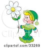 Clipart Illustration Of A Happy Blond Boy In Green Carrying A Large Daisy Flower