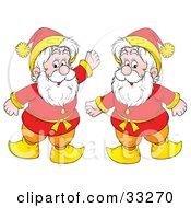 Two Friendly Gnomes Or Elves With White Bears Dressed In Red And Yellow
