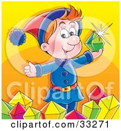 Clipart Illustration Of A Happy Red Haired Elf Holding Up A Green Emerald And Surrounded By Gems by Alex Bannykh
