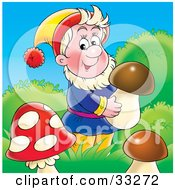 Clipart Illustration Of A Friendly Male Gnome Carrying A Mushroom In Grasses by Alex Bannykh
