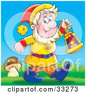 Clipart Illustration Of A Friendly Male Gnome Carrying A Lantern And Walking Past A Mushroom