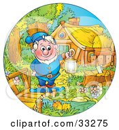 Clipart Illustration Of A Friendly Elf In Blue Holding A Lantern And Standing On A Bridge By His House