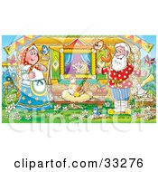 Clipart Illustration Of A Happy Man Woman Mouse Bird And Cat Watching A Hen Laying Golden Eggs Outside A Log Cabin by Alex Bannykh