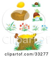 Clipart Illustration Of A Golden Egg Bird Nest Mushrooms Flowers And Tree Stump