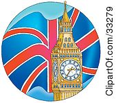 Clipart Illustration Of A Flag Waving Behind The Big Ben Clock Tower In London