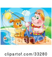 Clipart Illustration Of A Chubby Man Sitting On The Shore With His Dog Fishing On A Sunny Day by Alex Bannykh