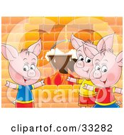 Three Pink Piglets Standing Around A Fireplace While Cooking Food In A Pot