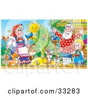 Clipart Illustration Of A Cat Mouse Dog Bird Butterflies Girl Man And Woman Standing Around A Giant Turnip Or Carrot by Alex Bannykh
