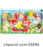 Animals Surrounding A Miniature Girl Emerging From A Flower