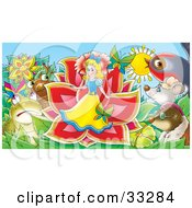 Clipart Illustration Of Animals Surrounding A Miniature Girl Emerging From A Flower by Alex Bannykh