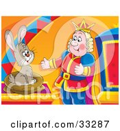 Clipart Illustration Of A Rabbit Emerging From A Sack In Front Of A Happy King