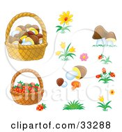 Baskets Of Mushrooms And Strawberries With Flowers And Mushrooms