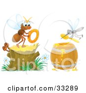 Fly Holding A Donut On A Stump While A Mosquito Scoops Honey Out Of A Barrel