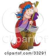 Clipart Illustration Of An Evil Witch Standing By A Barrel With A Broom