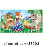 Clipart Illustration Of A Bear Wolf Rabbit And Happy Face Admiring A Female Fox In Clothes by Alex Bannykh