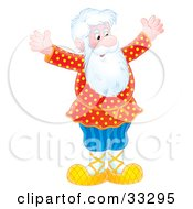 Clipart Illustration Of A Senior Caucasian Man With A White Beard Holding His Arms Out And Smiling by Alex Bannykh