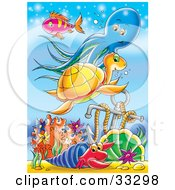 Clipart Illustration Of A Purple Fish Blue Octopus Orange Sea Turtle And A Blue And Red Hermit Crab Swimming Near An Anchor In The Sea by Alex Bannykh
