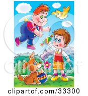 Clipart Illustration Of A Chubby Flying Boy And Bird Over A Puppy With A Ball And Boy With Candy