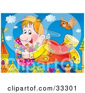 Clipart Illustration Of A Chubby Flying Boy And Bird Carrying Gifts And Candy Above Roof Tops