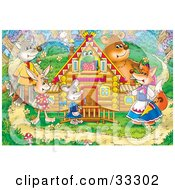Clipart Illustration Of A Frog In A Log House Surrounded By A Wolf Rabbit Mouse Fox And Bear In The Woods