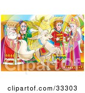 Clipart Illustration Of An Evil Man Standing Behind A King Watching A Phoenix And Horse By A Princess And Prince