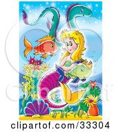 Poster, Art Print Of Blond Mermaid With A Purple Tail Swimming With Fish And An Eel In The Sea